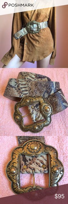 Vintage Oversize Statement Gold Buckle Python Belt For the coolest chick at the bar, get this oversized snakeskin, Spanish gold buckle belt. Features a statement oversized Spanish baroque style gold toned buckle, thick Python leather belt and five spaced out buckle holes. Wear over an oversized dress shirt. Fits small/medium. Great vintage condition. No returns allowed. Please ask all questions before buying. IG: [at] jacqueline.pak #vintage Vintage Accessories Belts