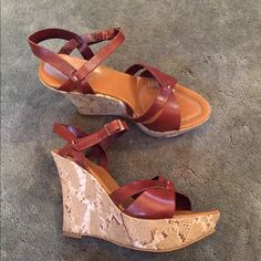 2 Prima Leather Snakeskin Print Sandals A great summer shoe with genuine leather, great height for those summer shorts and dresses!  Fits a size 9, runs a little big. Anthropologie Shoes Sandals