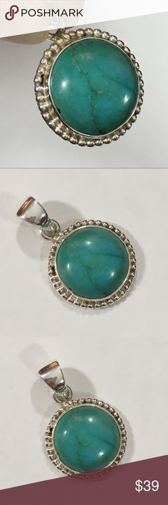 Chinese Turquoise Pendant (B) Pendant set in 925 Silver  Weighs approx 5.3 g  Comes on black cord with slip knots for adjustable length   DS172 Jewelry Necklaces