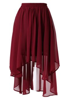 Got to have SOMETHING girlie in here! Lol  Wine Red Asymmetric Waterfall Skirt