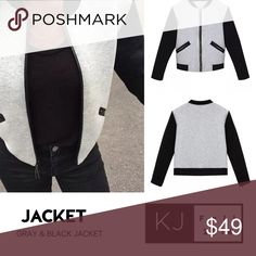 """Color Block Jacket Gray body black arm bomber pilot jacket. Casual day wear sports top. Large sizing: shoulders 16.5"""", chest 38"""", length 22"""", arms 21.5"""" Jackets & Coats"""