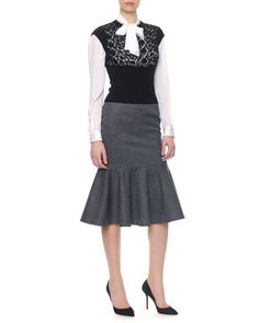 Cap-Sleeve Macramé Panel Knit Top/Long-Sleeve Silk Tie-Neck Blouse & Stretch Wool Long Flounce Skirt by Dolce & Gabbana at Neiman Marcus.