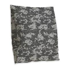digital military camouflage Burlap Throw Pillow