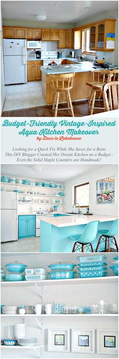 Turquoise kitchen!! Budget Friendly Makeover for 1990s Oak Kitchen // Bold + Colorful Turquoise Retro Vintage-Inspired Kitchen with Open Shelving, DIY Solid Wood Counters, Paneled Backsplash, Vintage Pyrex Collection, Modernica Stools, and TONS of Turquoise!