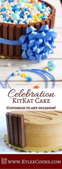 Customize to any occasion you need, simply by changing out the candies on the top! This Celebration KitKat Cake is super easy, but so impressive!   @celebrationfrey #momblogtourFF #AD