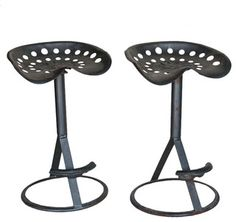 Funky pair of vintage tractor seats repurposed as bar stools. The foot rests have also been made from old tractor seats. They have a good industrial shape and feel. Vintage Stool, Vintage Bar, Tractor Seat Bar Stools, Diy Furniture Chair, Furniture Ideas, Furniture Design, Vintage Tractors, Modern Bar Stools, Chairs For Sale