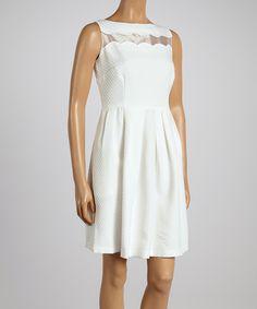 This Gabby Skye White Jacquard Organza Sleeveless Dress by Gabby Skye is perfect! #zulilyfinds