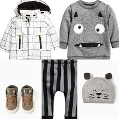 Baby boy outfit idea. H&M 2016 fall collection monster sweater, striped pants and white checkered jacket. Zara 2016 fall collection monster sneakers and cat hat.