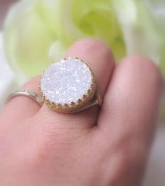 Drusy Ring white Gold Ring Druzy Jewelry Vintage by MaciDesign