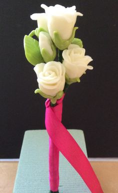 petite roses - white rose bouquet - clay roses - air dry clay
