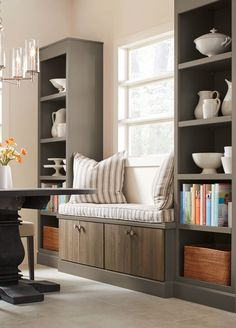 Kitchen Design Idea: Create a seating area and extra storage with Martha Stewart Living kitchen cabinetry, available exclusively at The Home Depot.