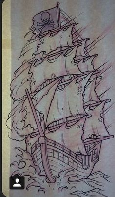 Hai Tattoos, Kunst Tattoos, Body Art Tattoos, Sleeve Tattoos, Tattoo Sketches, Tattoo Drawings, Art Sketches, Desenho New School, Pirate Ship Tattoos