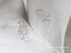 Beautiful Antique French Linen Damask Tablecloth With Small Double Hand Embroidered RD or DR Monogram Hand Sewn Cloth www.fatiguedfrenchfinds.com