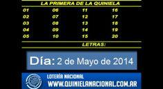 Loteria Nacional - La Quiniela Nacional La Primera Viernes 2 de Mayo de 2014. Fuente: www.quinielanacional.com.ar
