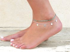 Turquoise Beads Anklet Delicate Turquoise Anklet by annikabella