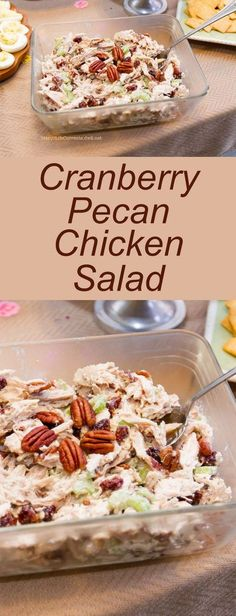 Cranberry Pecan Chicken Salad - A great lunch or a wonderful addition to any pot luck or party spread!: Cranberry Pecan Chicken Salad - A great lunch or a wonderful addition to any pot luck or party spread! Pecan Chicken Salads, Chicken Salad Recipes, Salad Chicken, Recipe Chicken, Chicken Salad Recipe With Pecans, Chicken Salad With Cranberries, Cranberry Chicken Salads, Chicken Wraps, Chicken Salad On Croissant