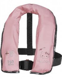"Hello Kitty ""I Love Sea"" inflatable life jacket in pink. With silver and red strass stones. Finished with silver spangles. Cool! #sailing #zeilen #hellokitty"