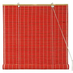 Oriental Furniture Bamboo Roll Up Blinds - Red - (24 in. x 72 in.)