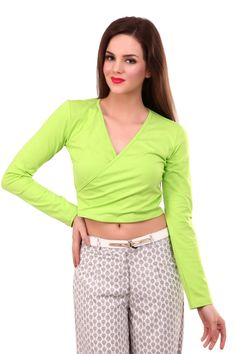 Long Sleeves Candy Crop Top