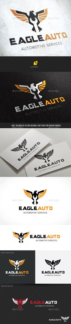 Eagle Automotive Logo Design Template Vector #logotype Download it here: http://graphicriver.net/item/eagle-automotive/10075407?s_rank=1145?ref=nesto