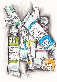 Watercolor And Ink, Watercolor Paintings, Painting Illustrations, Art Journal Pages, Art Journals, Paint Tubes, Gcse Art, Study Inspiration, Urban Sketching