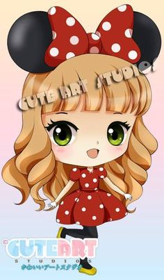 Girl [as Minnie Mouse] (Chibis / As Disney by CrownDolls @deviantART) #Disney