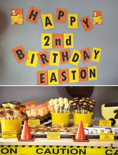 Construction Party {Boy Birthday Theme} // Hostess with the Mostess® Birthday Themes For Boys, Third Birthday, 3rd Birthday Parties, Boy Birthday, Birthday Ideas, Happy Birthday, Truck Birthday Cakes, Construction Birthday Parties, Construction Party Supplies