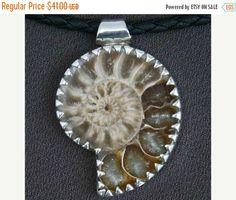 bella ammonite fossile ciondolo in argento - gioielli dei nativi americani - gioielli tribali - gioielli nautici