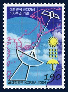 The 100th Anniversary of the Korean Modern Meteorological Service, weather, Korean Modern Meteorological Service, commemoration, blue, white, 2004 03 25, 대한민국 근대기상 100주년 기념, 2004년 03월 25일, 2371, 근대 기상, postage 우표