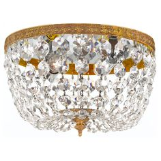 Crystal 2-light Flush with Olde Brass Finish | Overstock.com Shopping - Big Discounts on Crystorama Flush Mounts