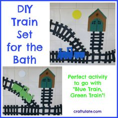 DIY Train Set for the Bath to go with Blue Train Green Train - Craftulate Crafts For Boys, Toddler Crafts, Diy For Kids, Gifts For Kids, Kid Crafts, Preschool Crafts, Train Activities, Craft Activities For Kids, Toddler Activities