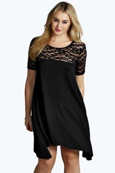 Plus Lucie Lace Panelled Swing Dress at boohoo.com Dressy Outfits b64260cfcb87