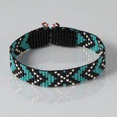 Chevron suroeste telar pulsera joyería artesanal occidental joyas abalorios tribales bohemios turquesa nativos americanos inspirado