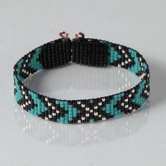 Native American Style Chevron Bead Loom Bracelet Artisanal Jewelry Southwestern Western Jewelry Beaded Bohemian Tribal Turquoise