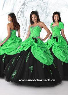Quinceanera Ballkleid Brautkleid Abendkleid Grün Schwarz  www.modekarusell.eu