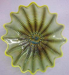 handblown electric blue and yellow glass bowl
