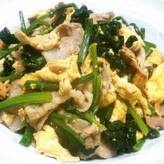 Easy! Fried Pork, Egg and Spinach 豚肉!卵!ほうれん草の簡単炒め