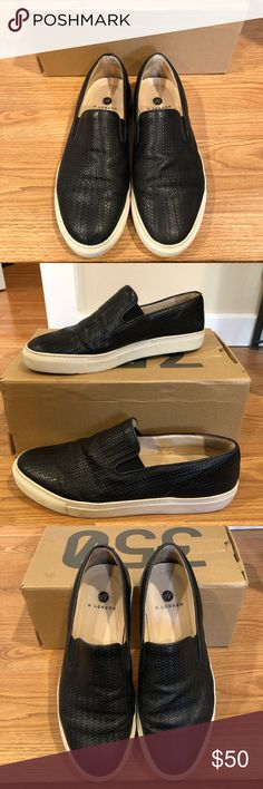 H by Hudson Men's European Size 45 Leather Slip-on These are barely worn black genuine leather slip-on sneakers. European Size 45. They are H by Hudson and made in Portugal. They still look brand new. Unique leather pattern for a hip summer look. H By Hudson Shoes Sneakers