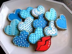 BLUE HEART COLLECTION  Heart Decorated Cookies  by lorisplace, $29.99
