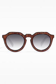 'Alameda' Faux Textured Wayfarer Sunglasses - Wood Grain - 5481-4