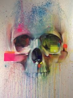 Skull street art by Steve Locatelli - Skullspiration.com - skull designs, art, fashion and more