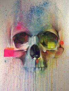 Skull street art by Steve Locatelli - Skullspiration.com - skull designs, art, fashion and more