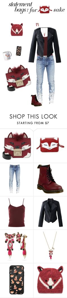 """""""Untitled #535"""" by shalaho ❤ liked on Polyvore featuring Furla, Dr. Martens, Topshop, Chicwish, Betsey Johnson, Casetify, San Diego Hat Co. and statementbags"""