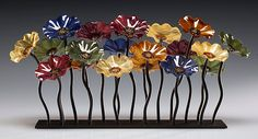 Bourbon Garden Table Centerpiece by Scott Johnson and Shawn Johnson: Art Glass Sculpture available at www.artfulhome.com