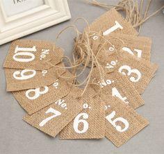 Pack de 10 Toile De Jute Drapeaux Table Numéros Cru Rustique De Mariage Décor AA8051