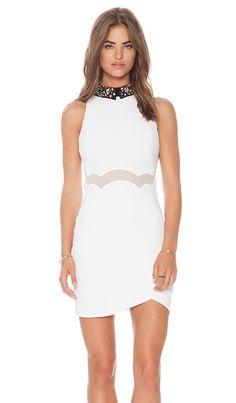 Three Floor Be Jeweled Dress in White & Black   REVOLVE