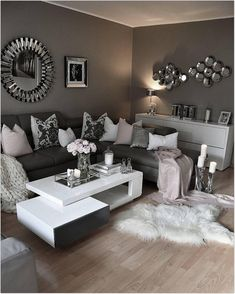home decor apartment living room likes, 91 comments - interior by zeynep ( on Ins Living Room Decor Cozy, Home Living Room, Apartment Living, Living Room Designs, Decor Room, Mirror Decor Living Room, Cozy Apartment, Apartment Ideas, First Apartment Decorating