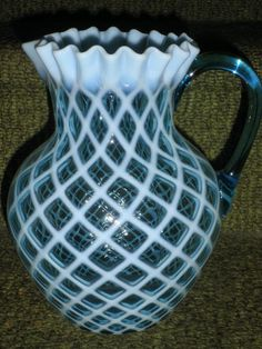 BLUE OPALESCENT VICTORIAN GLASS OPAL LATTICE WATER PITCHER