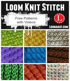 Loom Knit Stitches . List of FREE Patterns with video Tutorials updated every month with a new Loom knitting stitch pattern.