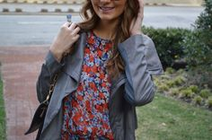 floral dress, gray moto jacket, nude lips